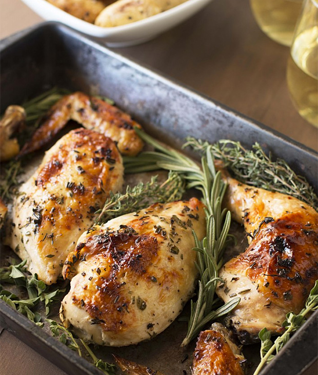 Simple Roasted Chicken with White Wine & Fresh Herbs at werd.com