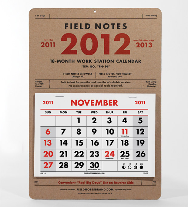 2012 Field Notes Calendar at werd.com