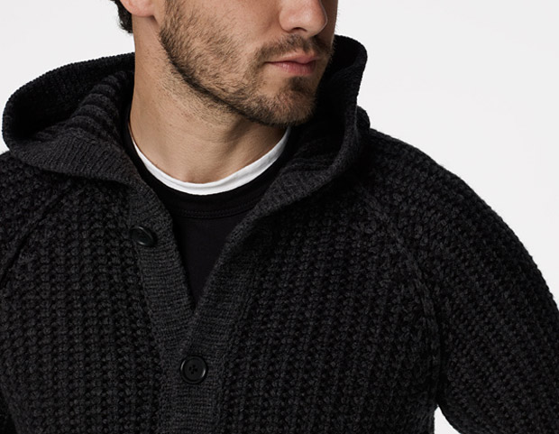 James Perse Knit Hooded Cardigan at werd.com