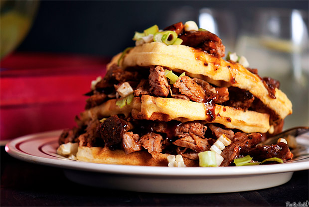 Pulled Pork Cornbread Waffles at werd.com